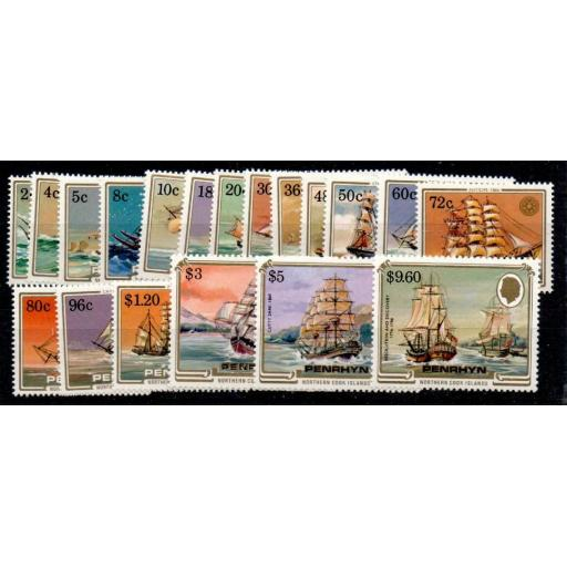 PENRHYN ISLAND SG337/55 1984 SAILING CRAFT SET MNH