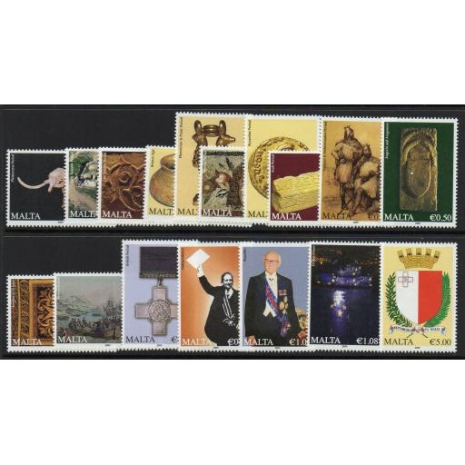 MALTA SG1638/54(NO a NUMBERS) 2009 HISTORY OF MALTA MNH