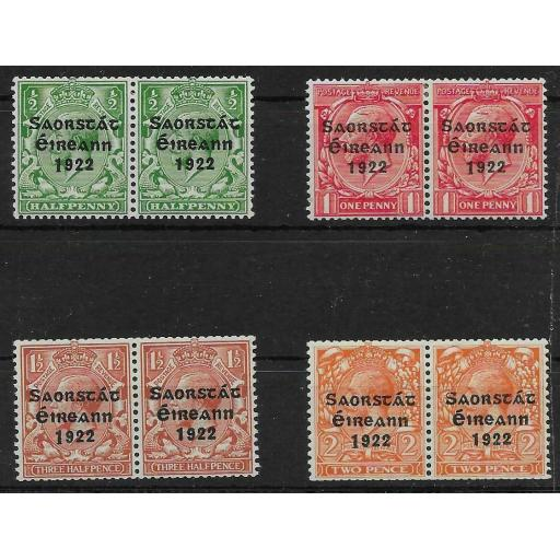 IRELAND SG67a/70a 1923 COIL STAMPS SET WITH LONG 1 VAR MTD MINT