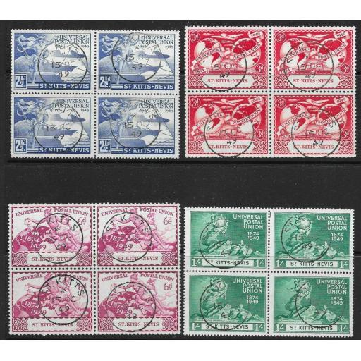 ST.KITTS-NEVIS SG82/5 1949 U.P.U. SET USED BLOCKS OF 4