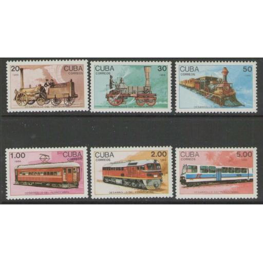 CUBA SG3365/70 1988 RAILWAY DEVELOPMENT MNH