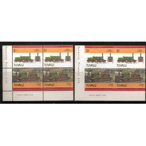 TUVALU SG319/20 1985 $1 RAILWAY IMPERF PAIR MNH