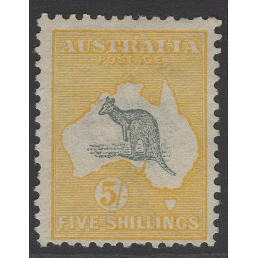 AUSTRALIA SG13 1913 5/= GREY & YELLOW MTD MINT