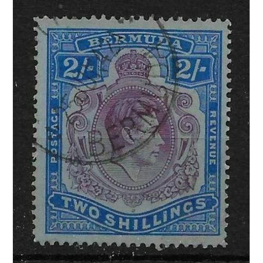 BERMUDA SG116bc 1941 2/= DEEP PURPLE & ULTRAMARINE ON GREY-BLUE BROKEN SCROLL FU