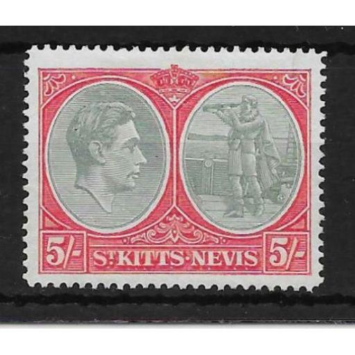 ST.KITTS-NEVIS SG77a 1943 5/= GREY-GREEN & SCARLET p14 CHALKY PAPER MTD MINT