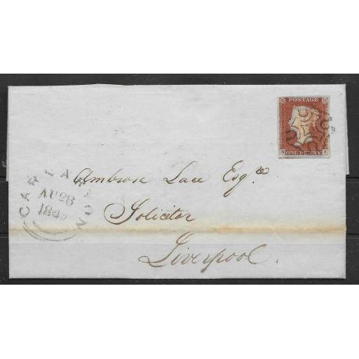 G.B. 1842 1d RED IMPERF PL23 ON LETTER CARNARVON TO LIVERPOOL