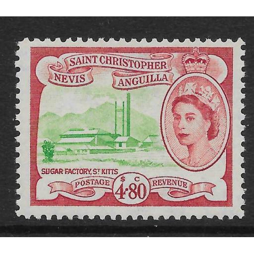 ST.KITTS-NEVIS SG118 1954 $4.80 GREEN & CARMINE MNH