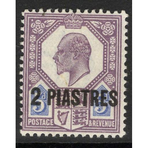 BRITISH LEVANT SG30 1912 2pi on 5d DULL REDDISH PURPLE & BRIGHT BLUE MTD MINT