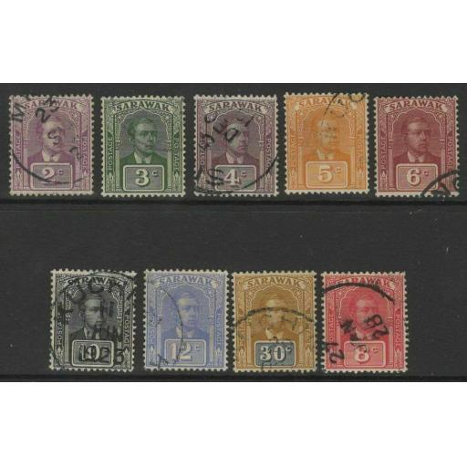 SARAWAK SG63/71 1922-3 NEW COLOURS & VALUE SET FINE USED