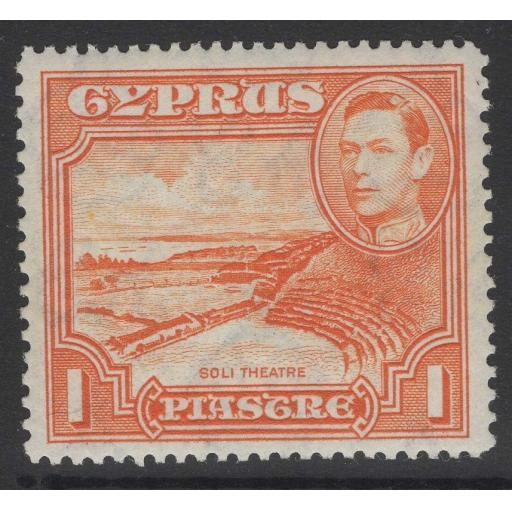 CYPRUS SG154a 1944 1pi ORANGE p13½x12½ MTD MINT