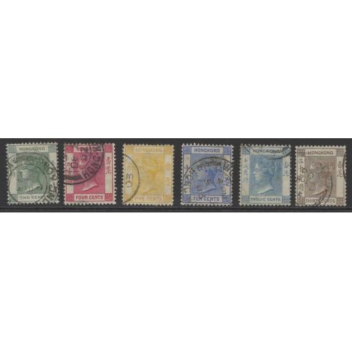 HONG KONG SG56/61 1900-1 WMK CROWN CA SET USED