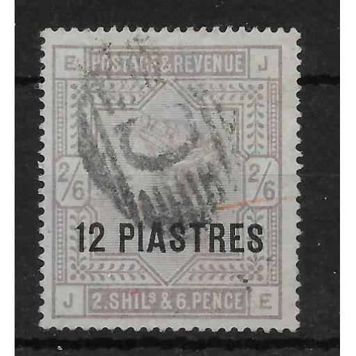 BRITISH LEVANT SG3 1885 12pi ON 2/6 LILAC ON BLUISH USED