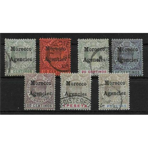 MOROCCO AGENCIES SG17/23 1903-5 DEFINITIVE SET OF 7 USED