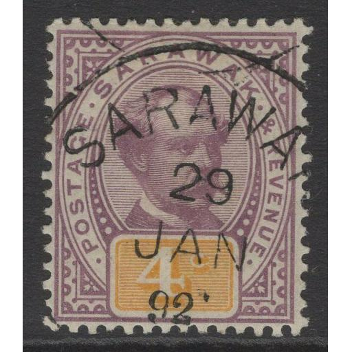 SARAWAK SG11 1888 4c PURPLE & YELLOW FINE USED