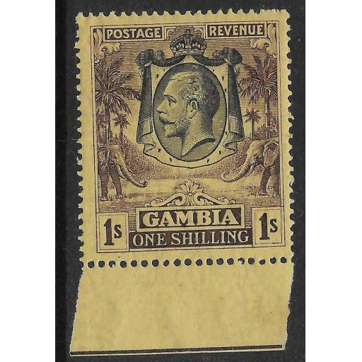 GAMBIA SG134a 1929 1/= BLACKISH-PURPLE ON YELLOW-BUFF MTD MINT