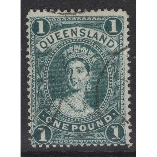 QUEENSLAND SG312c 1910 £1 DEEP BLUISH GREEN USED