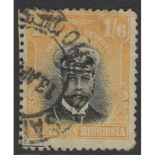 SOUTHERN RHODESIA SG11 1924 1/6 BLACK & YELLOW USED