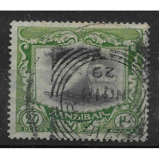 ZANZIBAR SG260b 1913 20r BLACK & GREEN USED