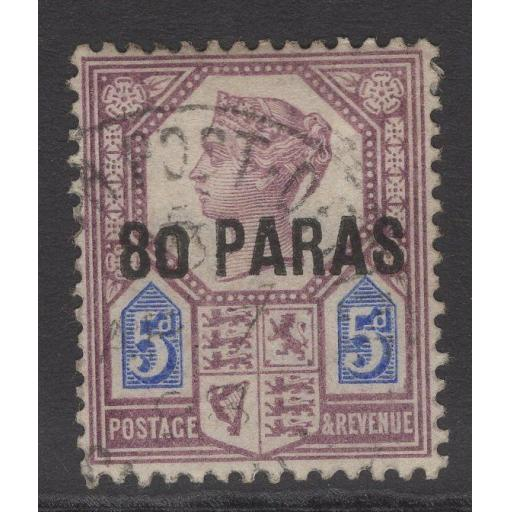 "BRITISH LEVANT SG5a 1887 80pa on 5d WITH SMALL ""0"" IN ""80"" FINE USED"