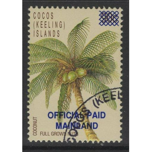 COCOS (KEELING) ISLANDS SGO1 1991 SURCHARGE 43c ON 90c FINE USED