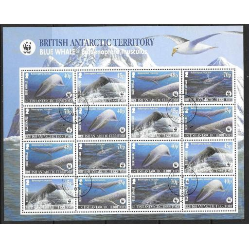BRITISH ANTARCTIC TERR. SG361/4 2003 BLUE WHALE SHEETLET FINE USED