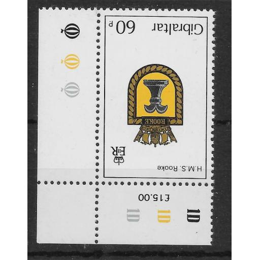 GIBRALTAR SG478w 1982 NAVAL CRESTS 60p INV WMK MNH