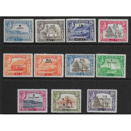 ADEN SG36/46 1951 SURCHARGE DEFINITIVE SET MTD MINT