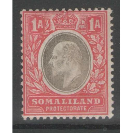 SOMALILAND SG46a 1906 1a GREY-BLACK & RED CHALKY PAPER MTD MINT