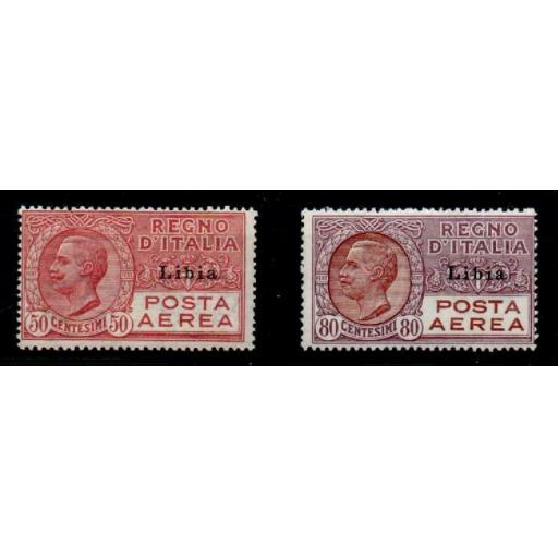 LIBYA SG63/4 1928 OVERPRINTS ON ITALY AIR STAMPS MTD MINT