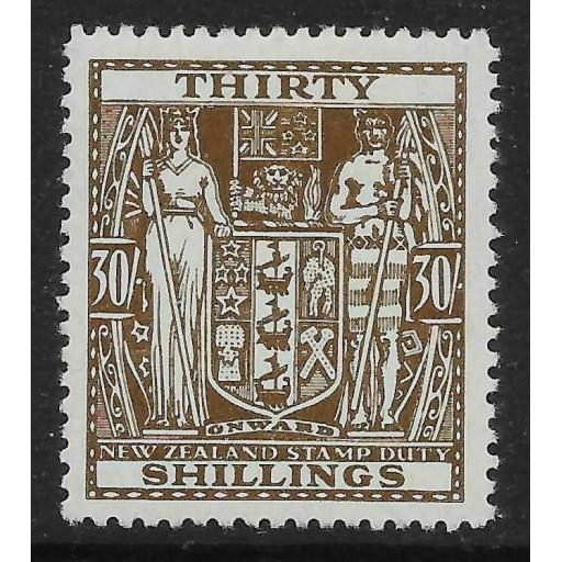 NEW ZEALAND SGF205 1946 30/= BROWN ARMS MTD MINT