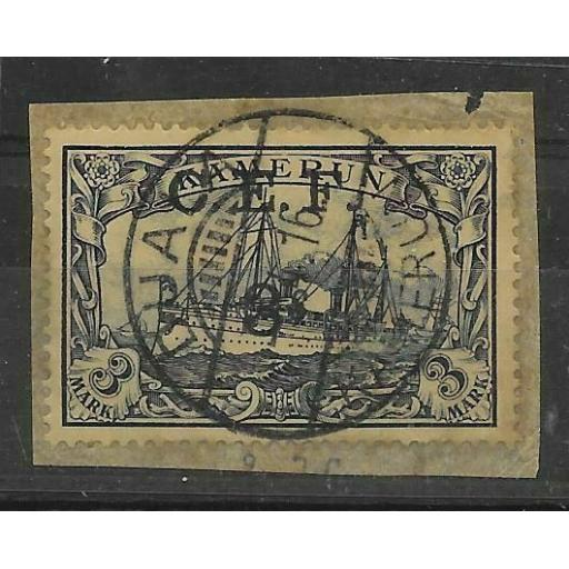 CAMEROON SGB12 1915 3/= ON 3m VIOLET-BLACK USED ON PIECE