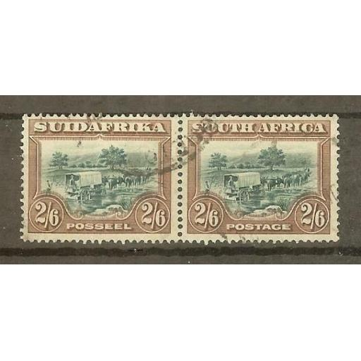 SOUTH AFRICA SG37 1927 2/6 GREEN & BROWN USED