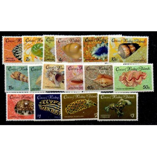 COCOS (KEELING) ISLANDS SG135/50 1985 SHELLS & MOLLUSCS DEFINITIVE SET MNH