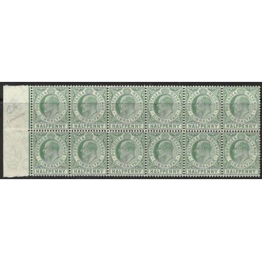 GIBRALTAR SG66 1907 ½d BLUE-GREEN MNH BLOCK OF 12