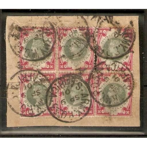 SOUTH AFRICA-BR.ARMY PO SGZ17 1901 1/= BLOCK OF 6 USED