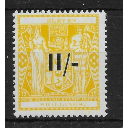NEW ZEALAND SGF189 1940 11/= ON 11/= YELLOW POSTAL FISCAL MNH