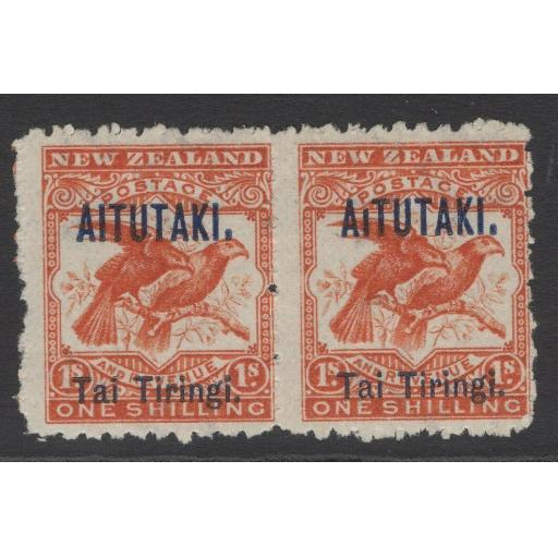 "AITUTAKI SG7bvar 1903 1/- BRIGHT REDWITH BROKEN ""I"" IN AITUTAKI MTD MINT IN PAIR"