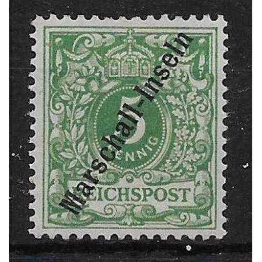 MARSHALL ISLANDS SGG2 1899 5pf GREEN OVPT ON GERMANY MTD MINT