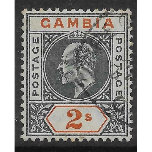 GAMBIA SG54 1902 2/= DEEP SLATE & ORANGE USED