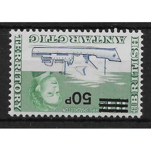 BRITISH ANTARCTIC TERR. SG37w 1971 50p ON 10/= DEFINITIVE INV WMK MTD MINT