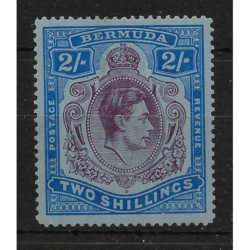 BERMUDA SG116bf 1941 2/= DP PURPLE & ULTRAMARINE/GREY-BLUE GASH IN CHIN MTD MINT