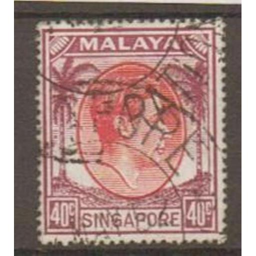 SINGAPORE SG26 1951 40c RED & PURPLE p17x18 USED