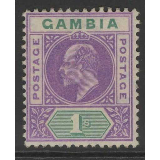 GAMBIA SG67a 1905 1/= VIOLET & GREEN WITH DENTED FRAME MTD MINT