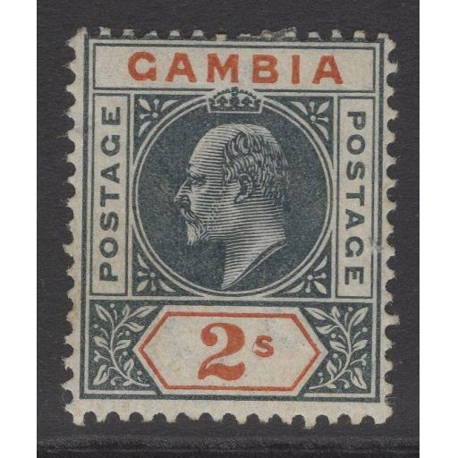 GAMBIA SG54 1902 2/- DEEP SLATE & ORANGE MTD MINT