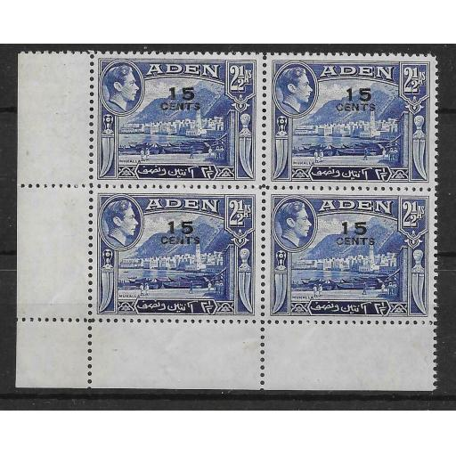 ADEN SG38a 1951 15c ON 2a OVPT DOUBLE VARIETY BLK OF 4 MNH