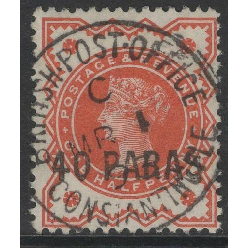 BRITISH LEVANT SG7 1893 40pa on ½d VERMILION USED