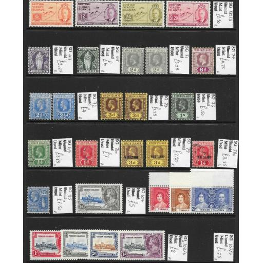 VIRGIN ISLANDS QV-KG6 MINT/USED DEALERS REMAINDERS PRICED TO SELL AT 74+