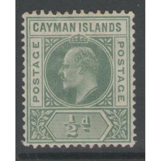 """CAYMAN ISLANDS SG8a 1905 ½d GREEN """"DENTED FRAME"""" MTD MINT"""