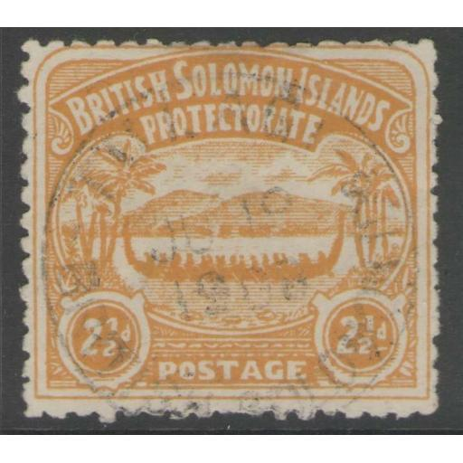 BRITISH SOLOMON IS. SG4 1907 2½d ORANGE-YELLOW USED