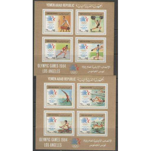 YEMEN SGMS769 1984 OLYMPIC GAMES 2 SHEETS MNH